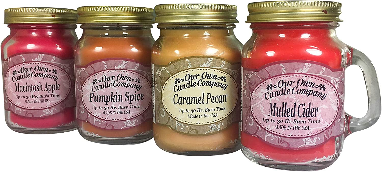 Our Own Candle Company 4 Pack Fall Assortment Mini Mason Jar Candles - 3.5 Oz Caramel Pecan, 3.5 Oz Mulled Cider, 3.5 Oz Pumpkin Spice, 3.5 Oz Macintosh Apple