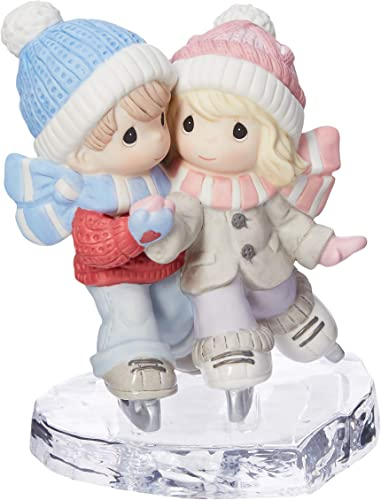 Precious Moments I Am S-mitten By Your Love Couple Ice Skating Bisque Porcelain Glass Figurine 181041