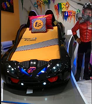 NITRO TURBO GT Kids Room Car Bed with Mattress Racing Sounds and Lights - BLACK