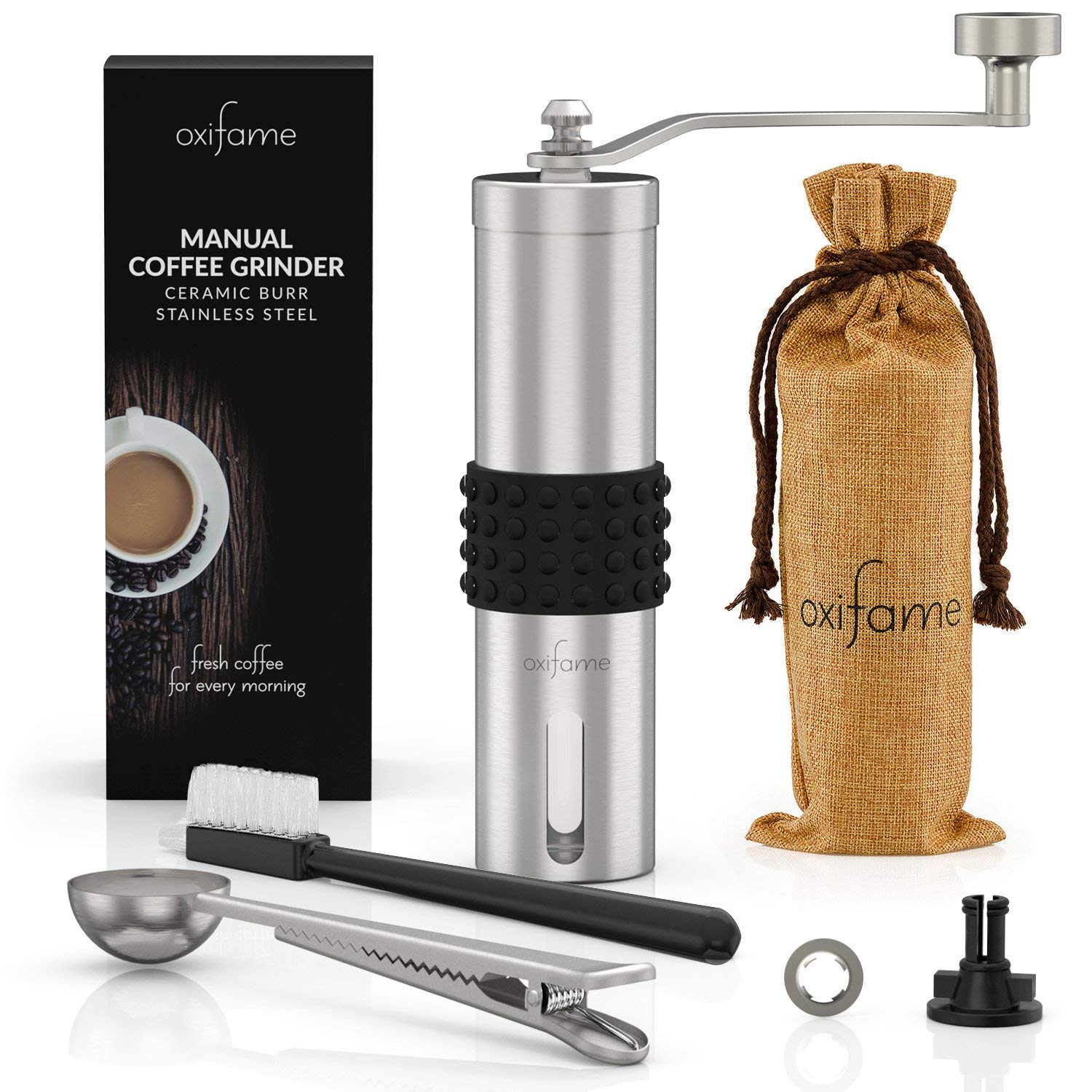 Oxifame Hand Coffee Grinder with Ceramic Conical-Burr – Stainless Steel Manual Crank for Coffee on the Go OXF-0001