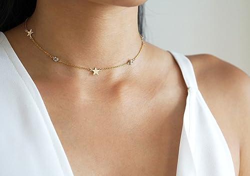 Delicate Choker Minimalist Choker Gold Filled Choker The Stargazer Choker CZ Choker Boho Dainty Layering Necklace Dainty Gold Choker