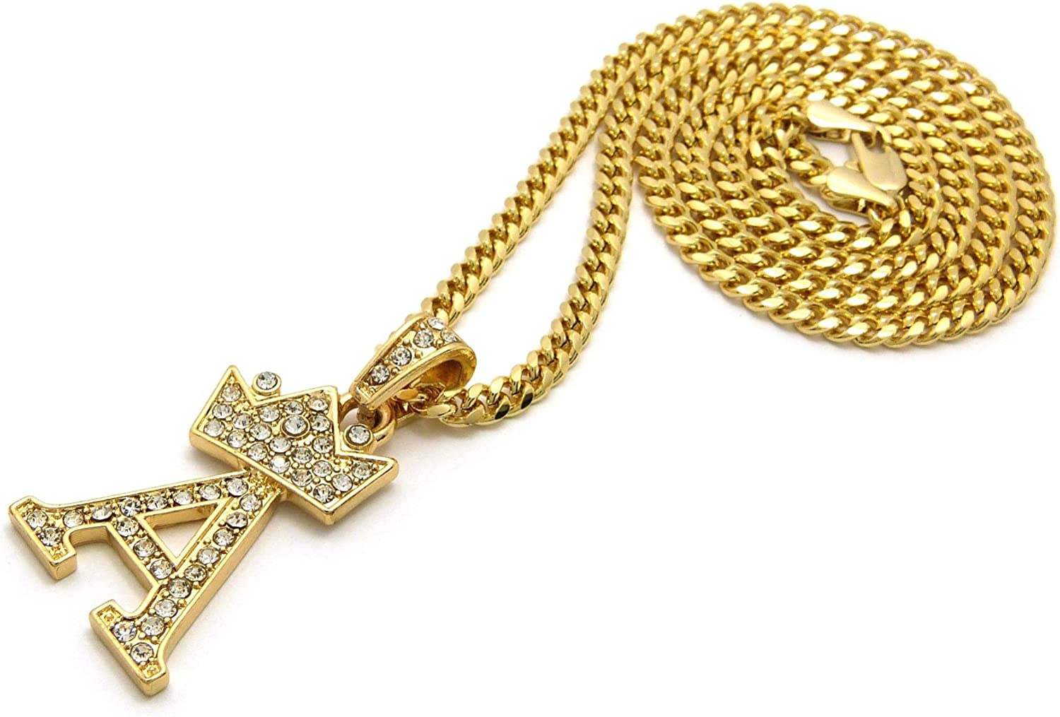 Gold-Tone NYFASHION101 Stone Stud Tilted Crown Initial Micro Pendant w// 3mm 24 Cuban Chain Necklace