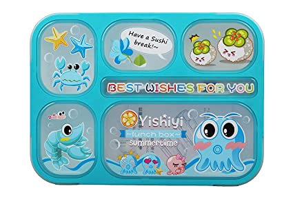 77994e2b27d Sushi Character Lunch Box for Kids Adults - Fashion Rectangle Grid  Leak-Proof Food Container