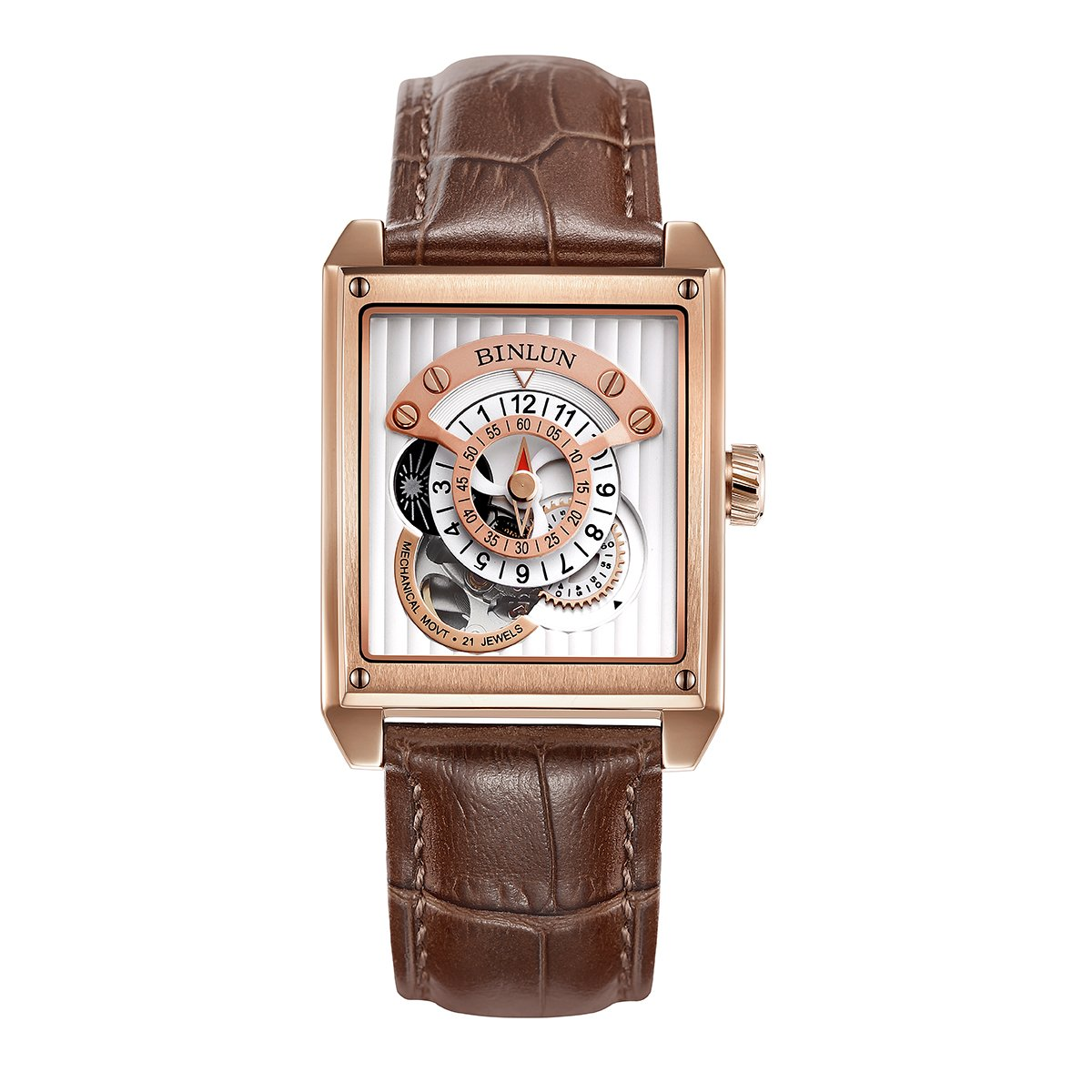 BINLUN Rose Gold Men's Luxury Dress Watches Brown Leather Band Waterproof Rectangle Automatic Watch
