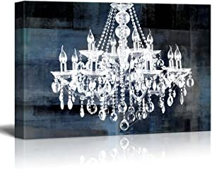 "wall26 Canvas Wll Art - Crystal White Chandelier on Blue Abstract Vintage Background - Giclee Print and Stretched Ready to Hang - 24""x36"""