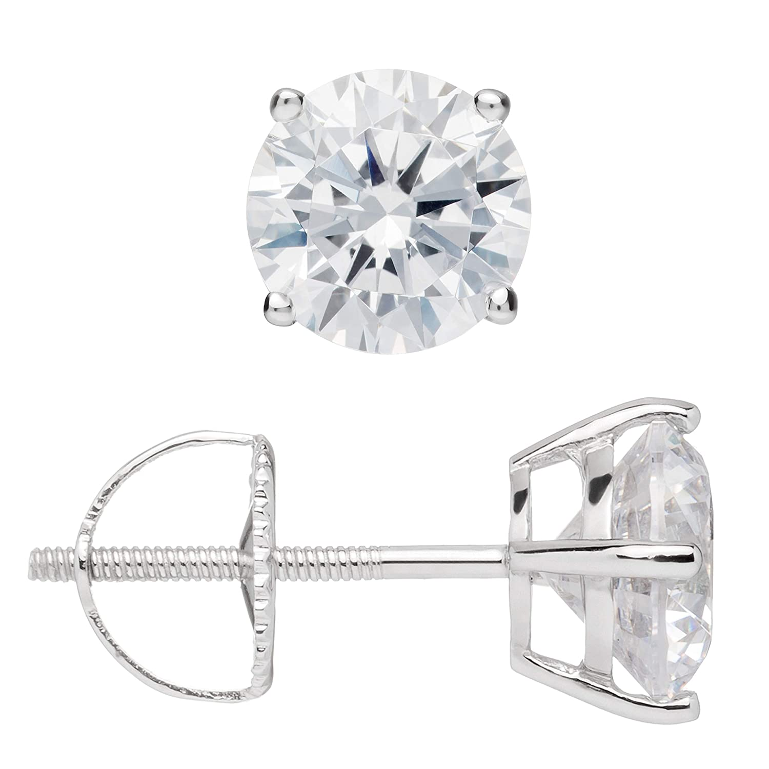 14K Solid White Gold Round Cut Cubic Zirconia Stud Earrings | .50 to 4.0 CTW | Screw Back Posts | With Gift Box Everyday Elegance WRABC E022/9