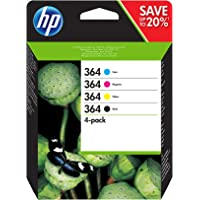 HP N9J73AE 364 Original Ink Cartridges Black, Cyan, Magenta and Yellow, Pack of 4