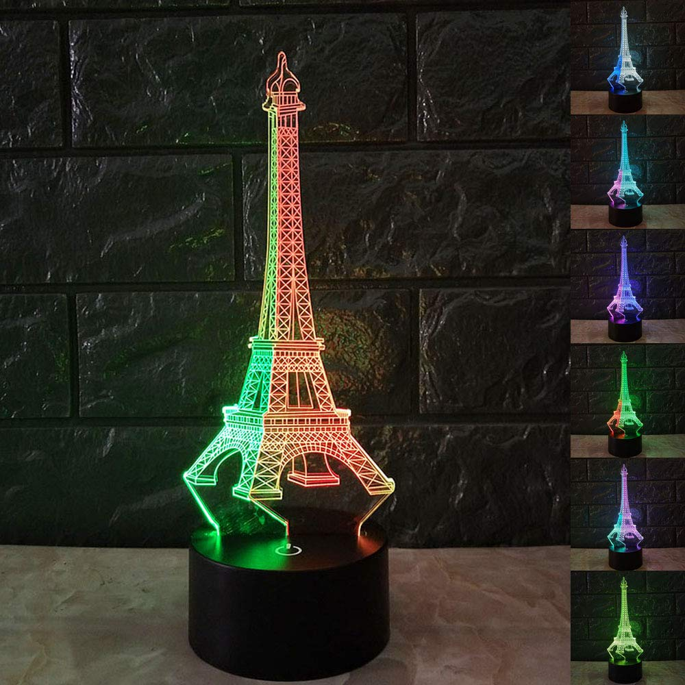 SZLTZK Christmas Gift Mixed Dual Color 3D LED Effel Tower Night Light 7 Color Touch Switch with Battery Compartment USB Cable Table Desk Baby Nursery Lamp Home Decor Birthday Present For Kids Boy Girl