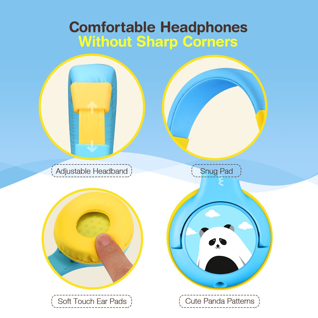 Mpow Kids Headphones with 85dB Volume Limited Hearing Protection & Music Sharing Function, Kids Friendly Safe Food Grade Material, Tangle-Free Cord, Wired On-Ear Headphones for Children Toddler Baby by Mpow (Image #4)