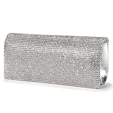 Reelva New SILVER CRYSTAL DIAMANTES EVENING CLUTCH WEDDING BAG ... c64f7ce0aa25d