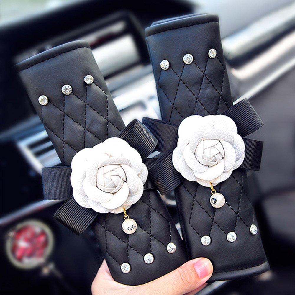 inebiz Sch/öne Camellia Leder Auto Sicherheitsgurt Pads Gurt Positioniert Einstellknopf 1/Paar f/ür Kinder oder Erwachsene