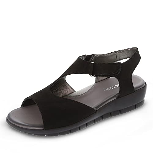 Para Mujer Negro Piel Vestir Sandalias Aerosoles De axRIIB