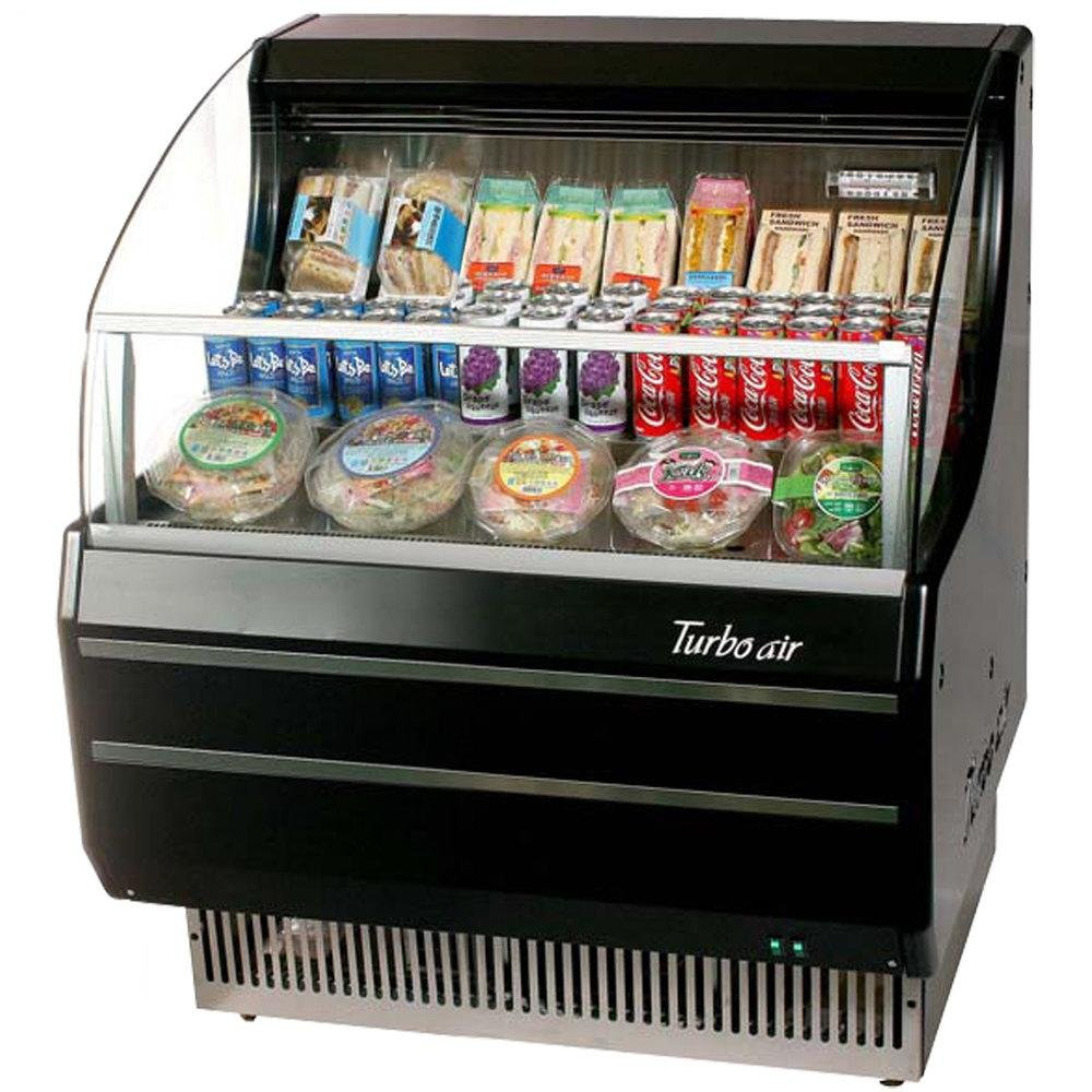 TOM30SBSFA 28 Open Display Merchandiser with Environmental Friendly Refrigeration System Stainless Steel Front Panel Anti-Rust Coating and High Density PU Insulation: Black Ext. and Int.