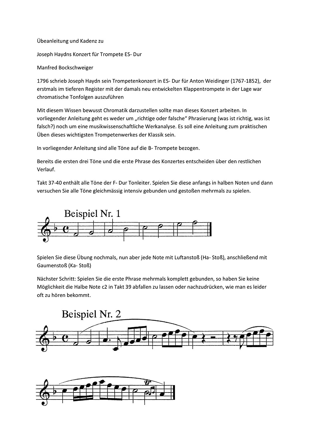 Haydn E Major  A tutorial and cadence for the Trumpet