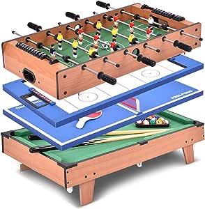 vengaconmigo Mesa de Juego 4 en 1 de Madera Mesa Multijuegos con Futbolín Air Hockey Ping-Pong y Billar Juguete para Niños: Amazon.es: Juguetes y juegos