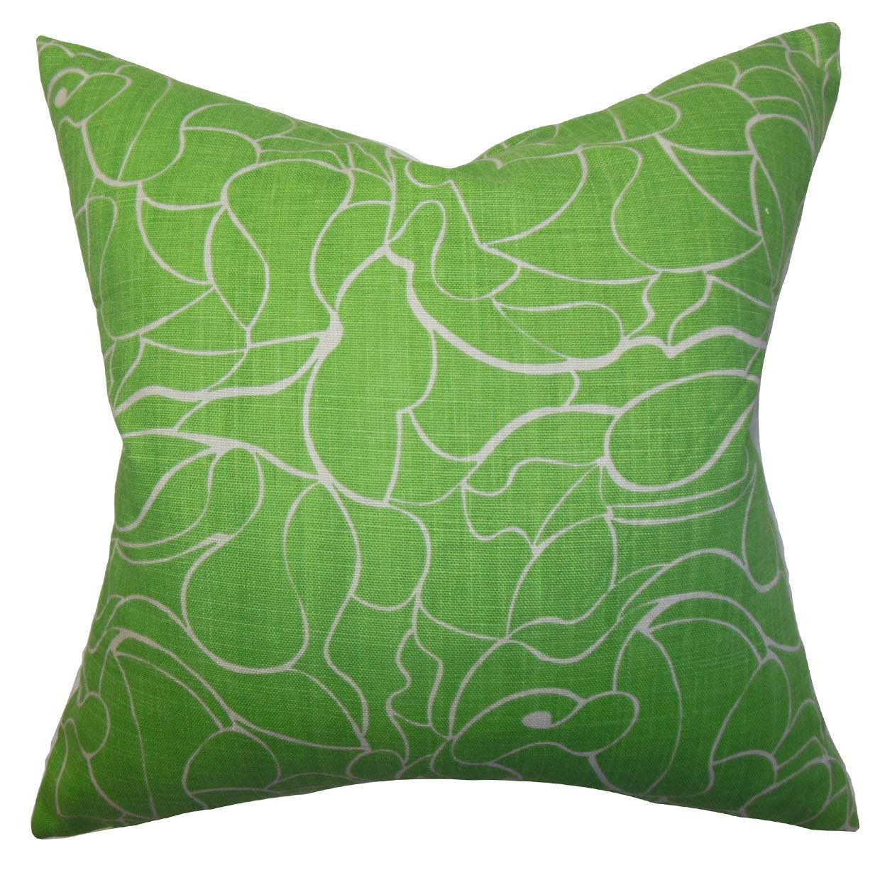 The Pillow Collection Eames Floral Green Down Down Filled Throw Pillow
