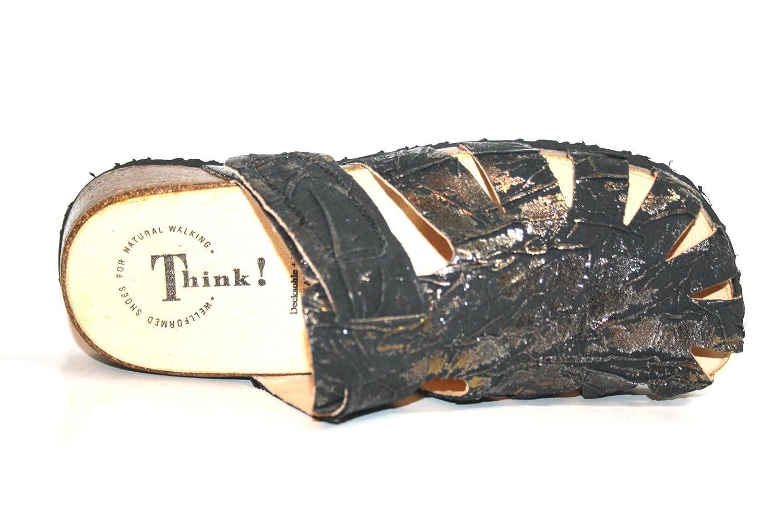 Think! Clogs Elegante Hausschuhe Slipper Pantolette Leder Clogs Think! Lederschuhe Schwarz f7b97d