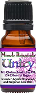 Miracle Botanicals Unity Annointing Oil - 10% Essential Oil Crown Chakra Synergy Blend in a Golden Argan Oil Base - 10ml