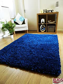 Rugs Superstore NEW NAVY BLUE THICK SOFT HAND TUFTED SHAGGY RUG CHUNKY LUXURIOUS PILE (200