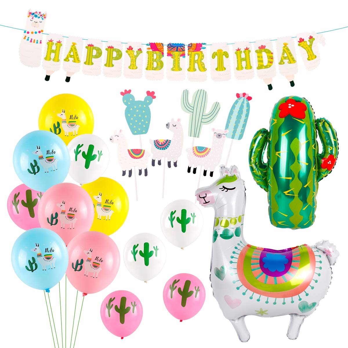 e1b2d0aff7cda Llama Party Supplies, Birthday Party Decorations with Large Llama Cactus  Foil Balloons, Latex Balloons, Cupcake Topper, Happy Birthday Banner for  Baby ...