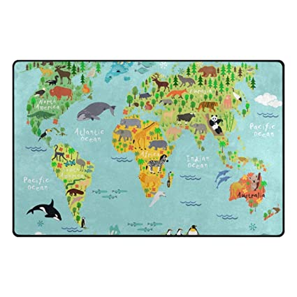 Amazon u life cute cartoon kids animal world map large u life cute cartoon kids animal world map large doormats area rug runner floor mat carpet gumiabroncs Gallery