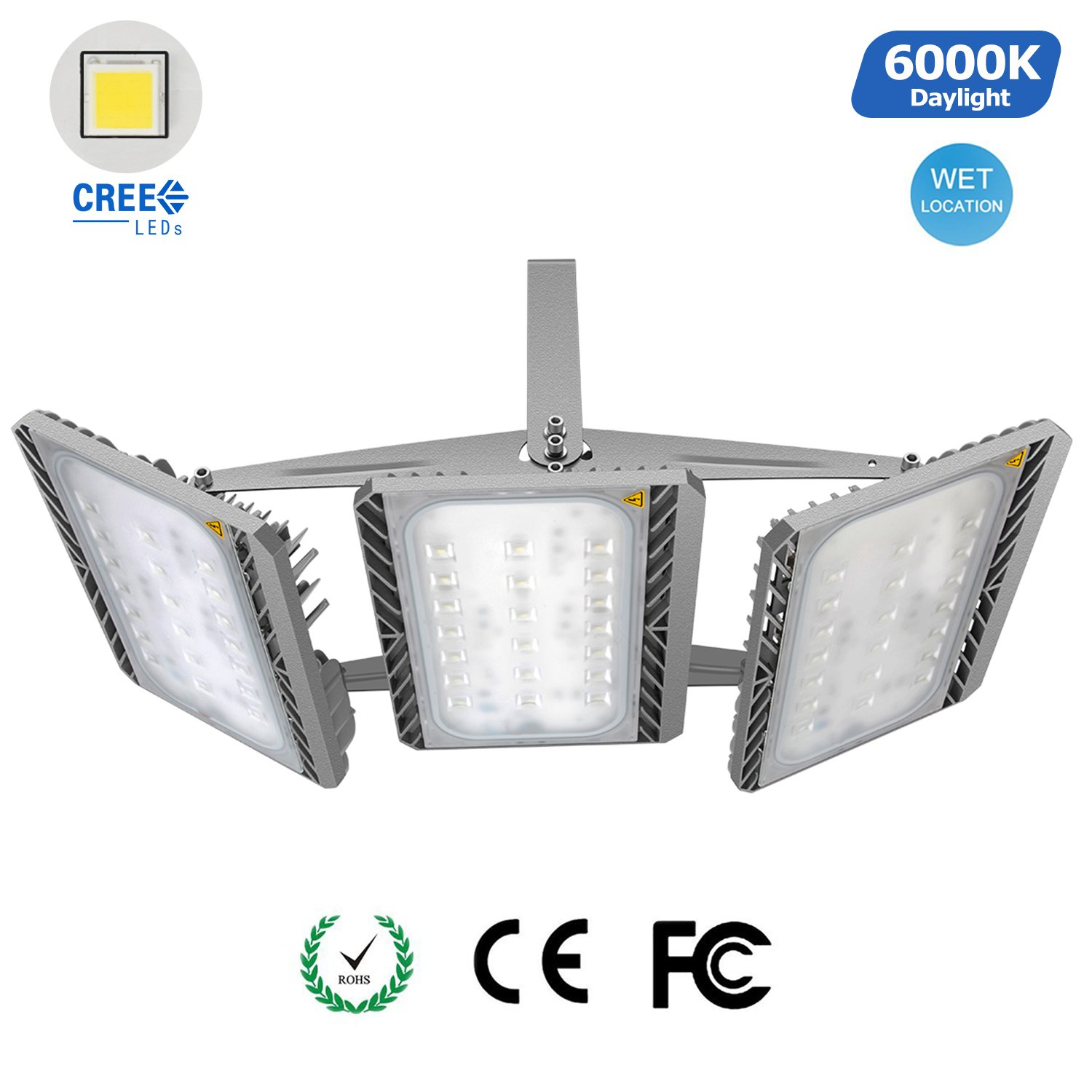 STASUN LED Flood Light Outdoor, 300W Super Bright Large Area Lighting, Cree LED Source, 27000lm, 6000K Daylight, Adjustable 3-Heads, Waterproof Security Lights for Yard Street Parking Lot by STASUN