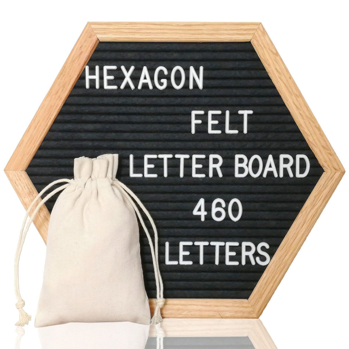 Letter Board Black Felt Letter Board 12 x 12 inches Changeable Letter Board with 460 White Letters, Premium Oak Wood Frame, Free Canvas Bag and Sawtooth Hanger Hook VAG024BK