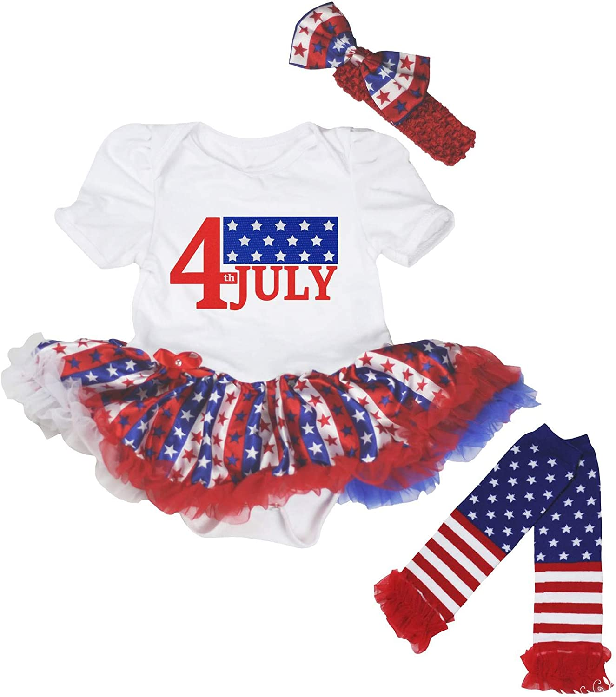 Petitebella 4th of July Flag White Bodysuit Striped Stars Tutu Leg Warmer Nb-18m