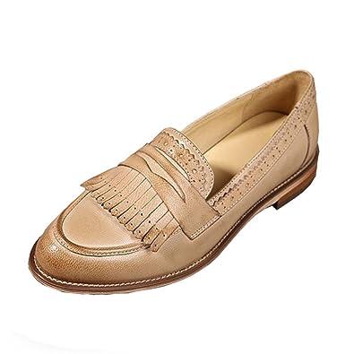 a9eb55d4ba35f Amazon.com   Dormery Flat Shoes Women US Size 9 Handmade Brown Blue ...
