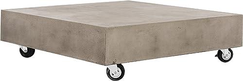 Safavieh VNN1023A Collection Gargon Dark Grey Indoor Outdoor Modern Concrete 9.84 Casters Coffee Table