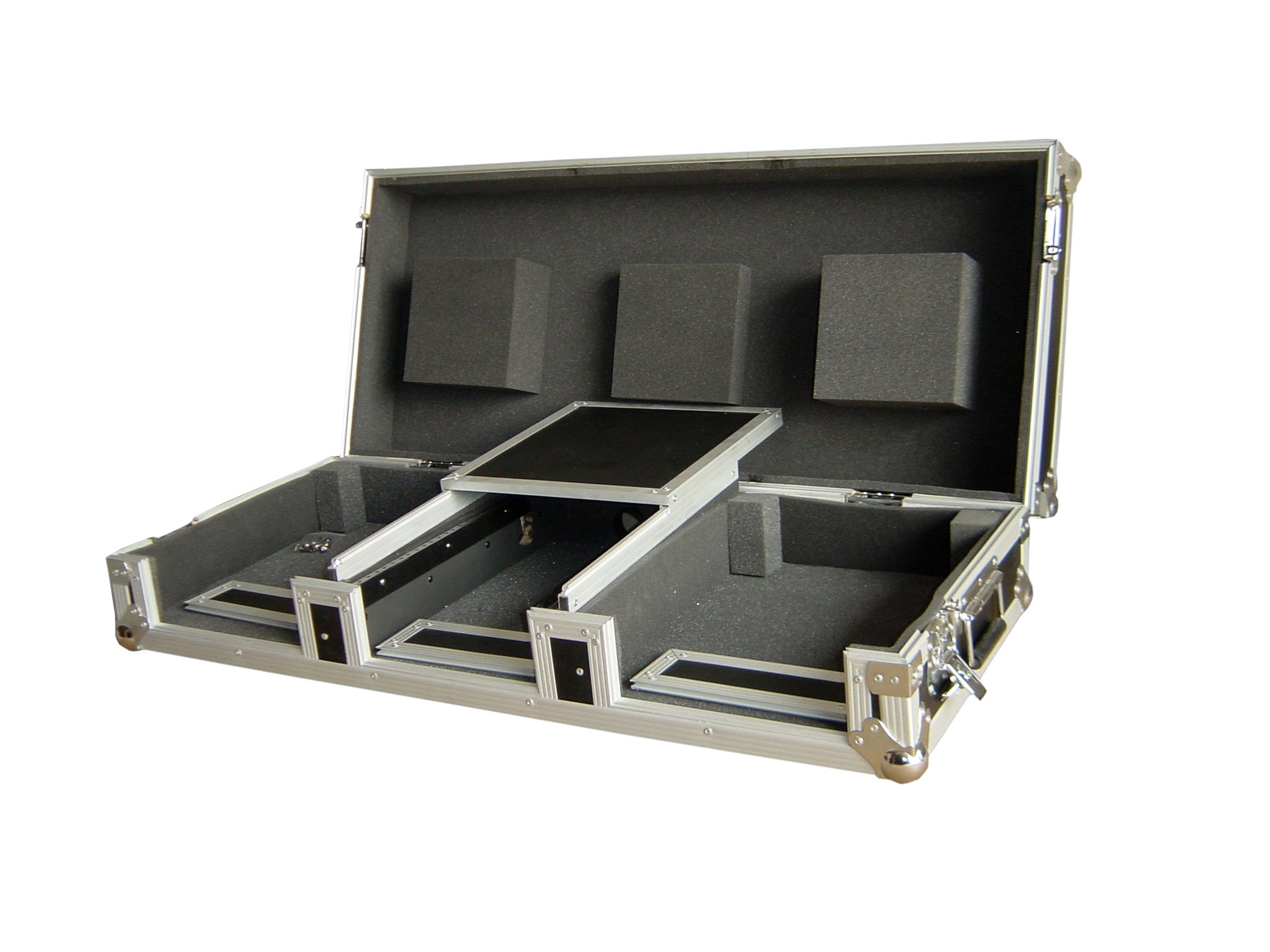 Professional DJ Coffin Case - 10'' - For CD Turntables - Mixer & Serato Interface - Removable Sliding Laptop Platform - Stackable Corners - ATA Pro By GMI Pro