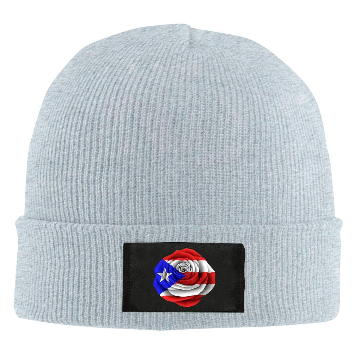 Puerto Rican Rose Flag Unisex Warm Winter Hat Knit Beanie Skull Cap Cuff Beanie Hat Winter Hats