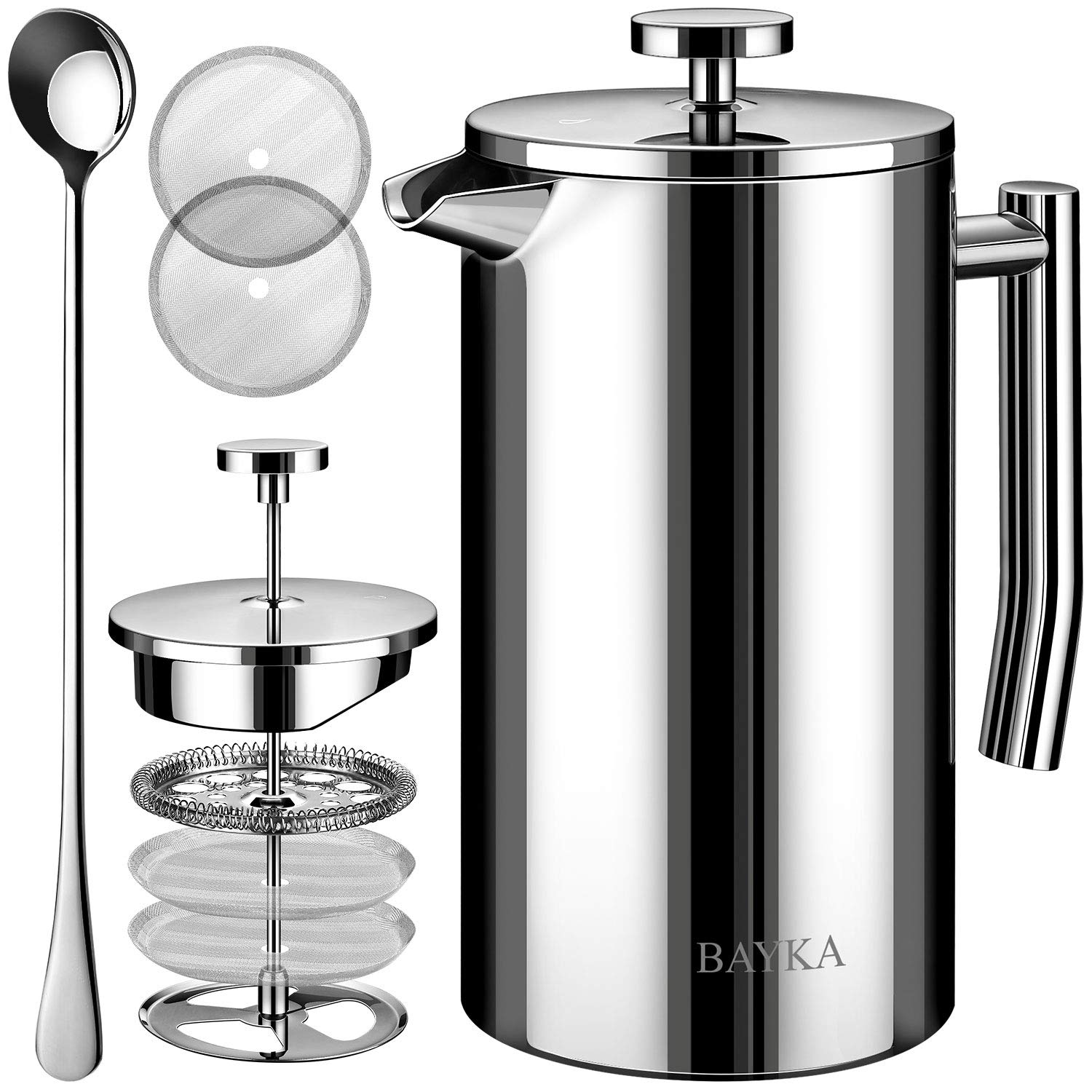 BAYKA French Press Coffee and Tea Maker, 34oz Double-Wall Stainless Steel Metal Insulated Pot with 4 Level Filtration System, Rust-Free, Dishwasher Safe by BAYKA