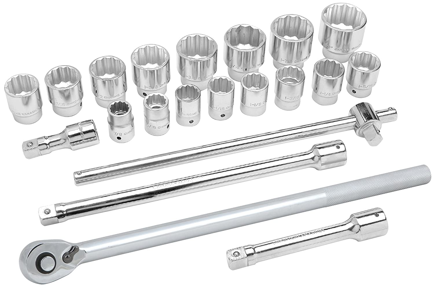 Performance Tool W38302 17 Piece 1/2' Drive SAE and Metric 6 Point Socket Set with Ratchet WILW38302