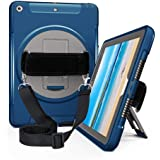 iPad 9.7 Case 2018 2017, Full-Body Rugged Shockproof iPad 6th/5th Generation Case with Screen Protector, 360 Degree Swivel Stand, Hand Strap & Shoulder Strap, Apple iPad 9.7 Inch Case for Kids, Blue