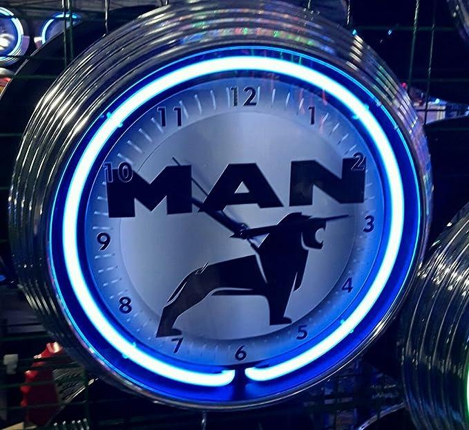 Reloj de pared camión man azul neón