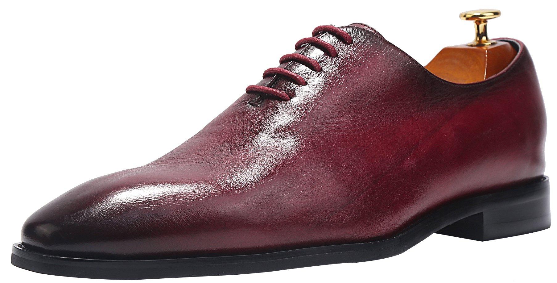 ELANROMAN Men's Business Dress Derby Shoes Retro Classic Italian Handmade Oxford Shoes Red(US 10 EU 44 Foot Length 309.32mm)