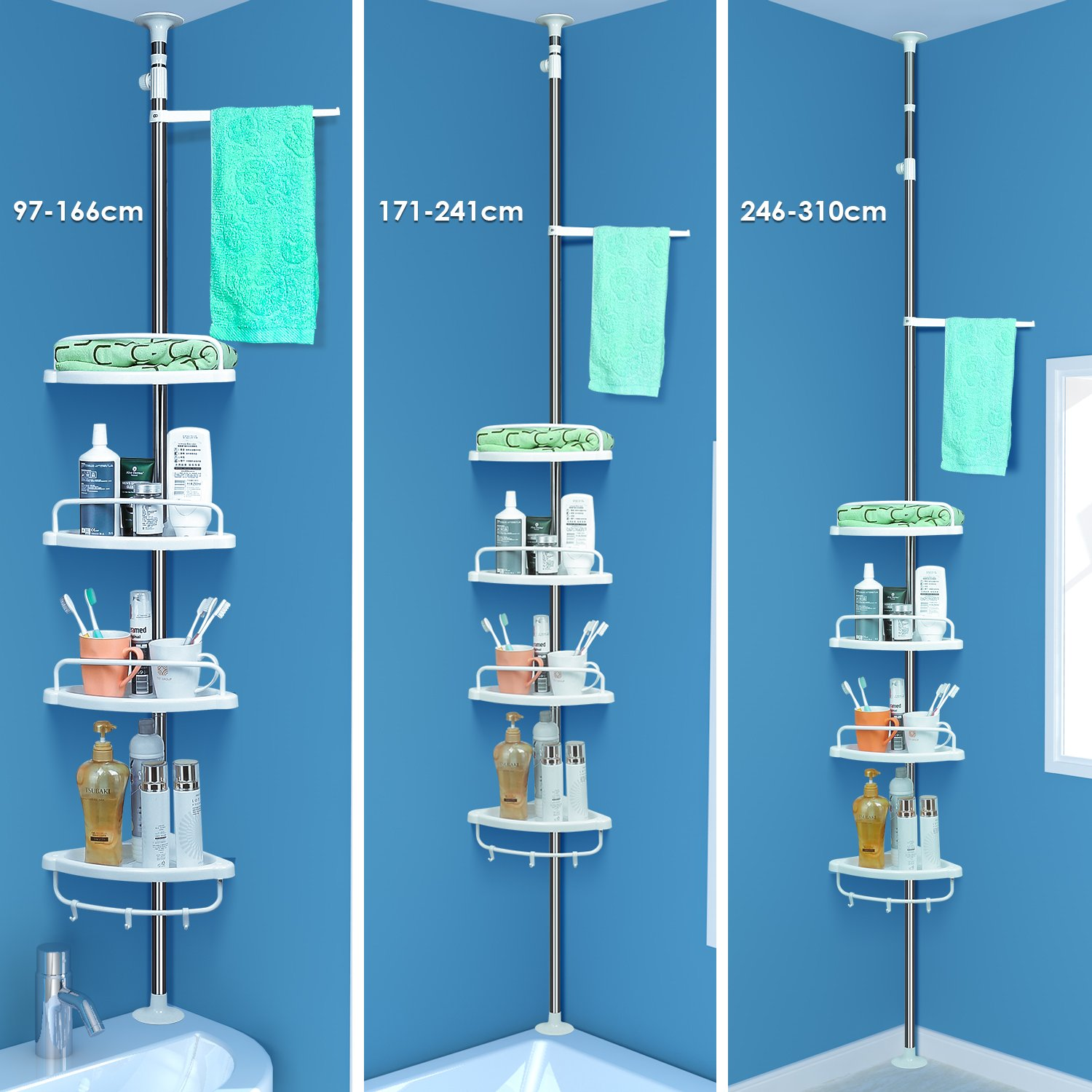 HOMFA Shower Shelf Bathroom Corner Rack Stand 4 Tier Adjustable ...