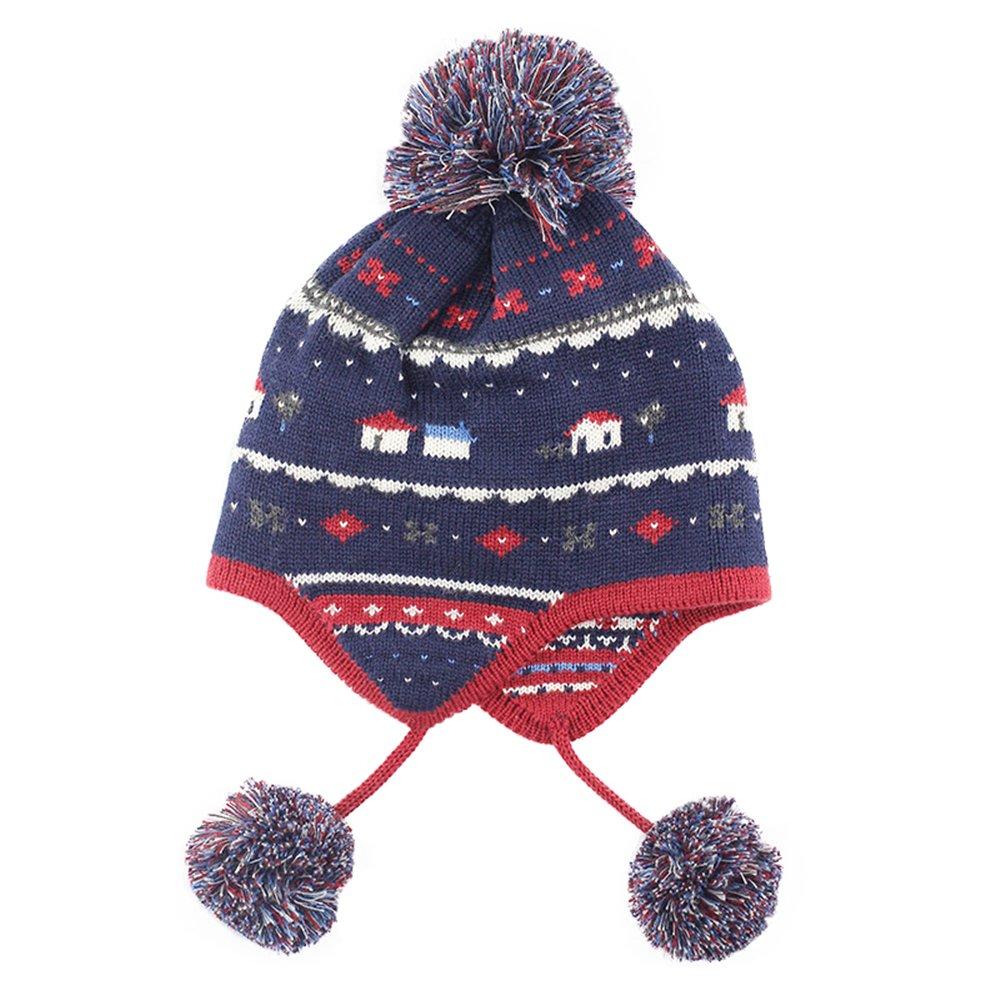 Beanie Bobble Pompom Hat Children Kids Baby Boys Girls Winter Knitted Ear Flap Cap
