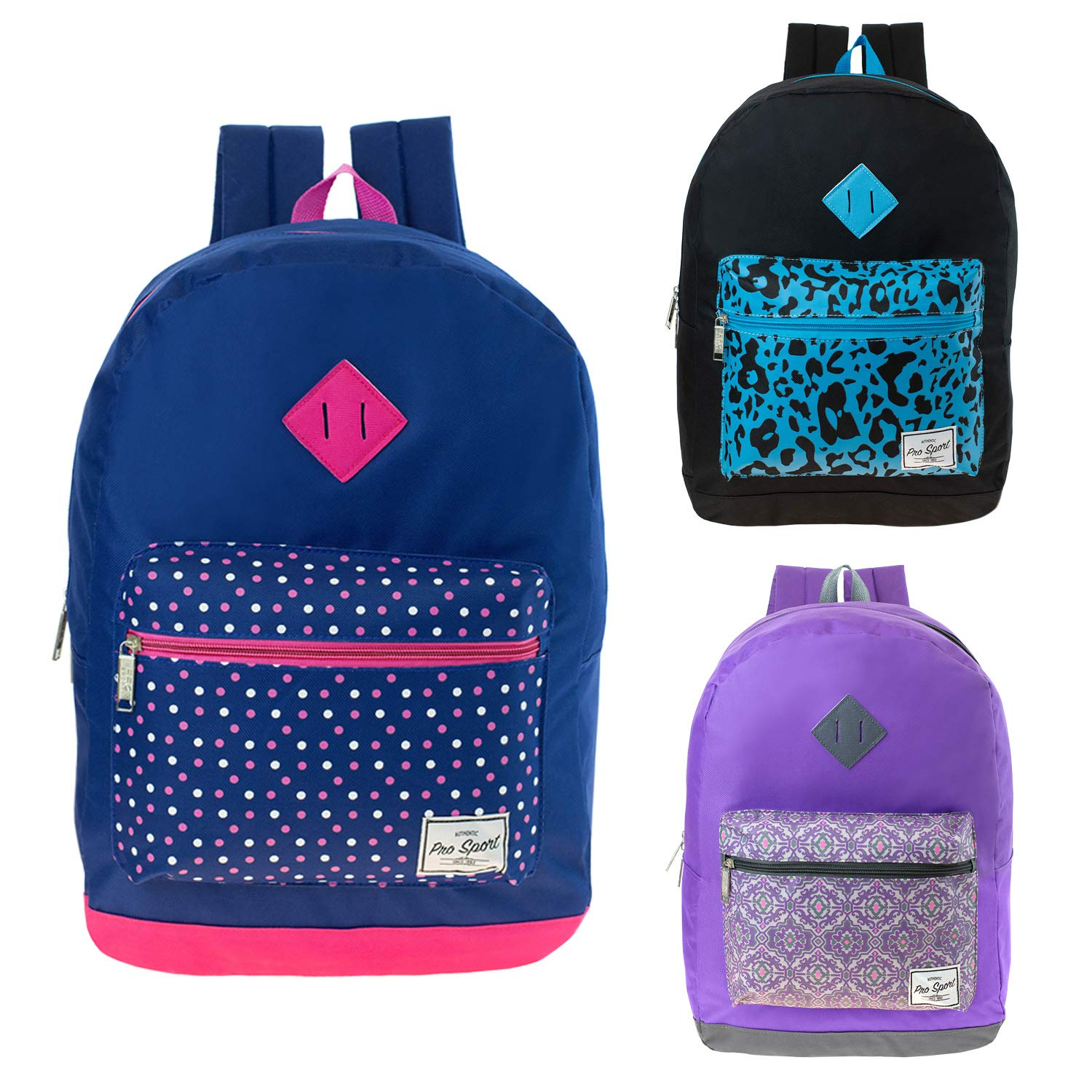 17'' Wholesale Backpacks In 3 Assorted Colors - Bulk Case of 24 Kids Classic Bookbags