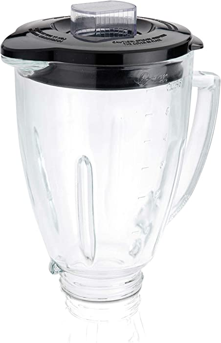 Oster Blender 6-Cup Glass Jar, Lid, Black and clear