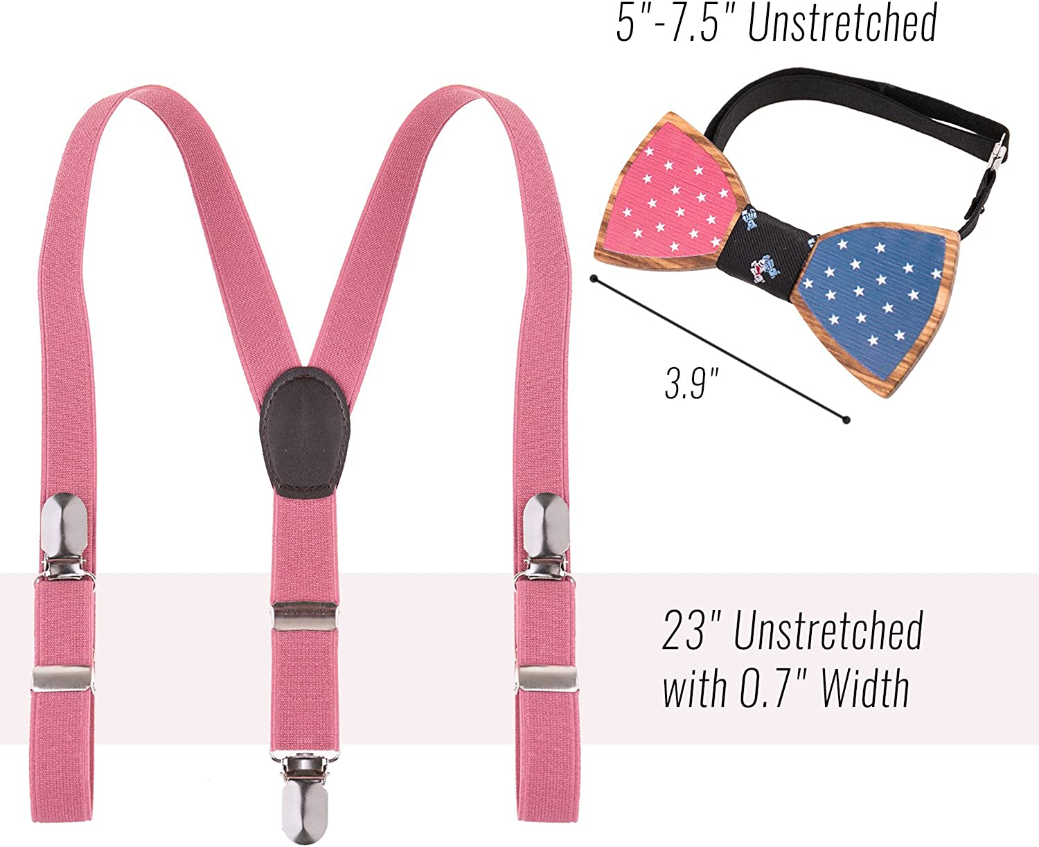 USA Pink Polka Dots Suspender and Bow Tie Set for Baby Toddler Kids Girls