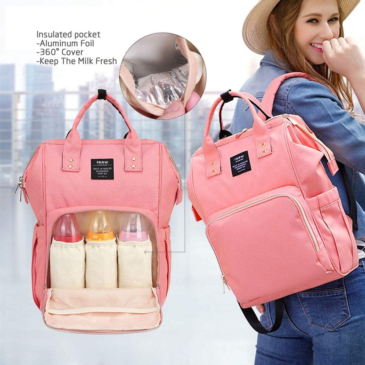 Baby Changing Bag Rucksack,Large Nappy Diaper Backpack Waterproof with Stroller Hooks for Mum Pink