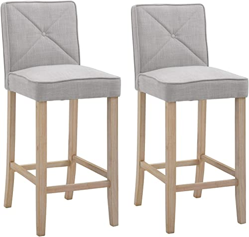 HOMCOM 2-Piece Bar Height Barstools Chair with Convenient Build-in Footrest, Solid Wood Legs, Stylish Modern Decor, Beige