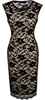 HOMEYEE Women's Floral Lace Cocktail Party Sheath Dress S09