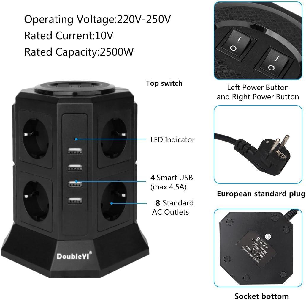 DoubleYI Tour Multiprise Parasurtenseur Parafoudre 11 Prises avec 2 USB 4,5A Ports Cordon de 2m Noir Protection jusqu/à 1000 joules