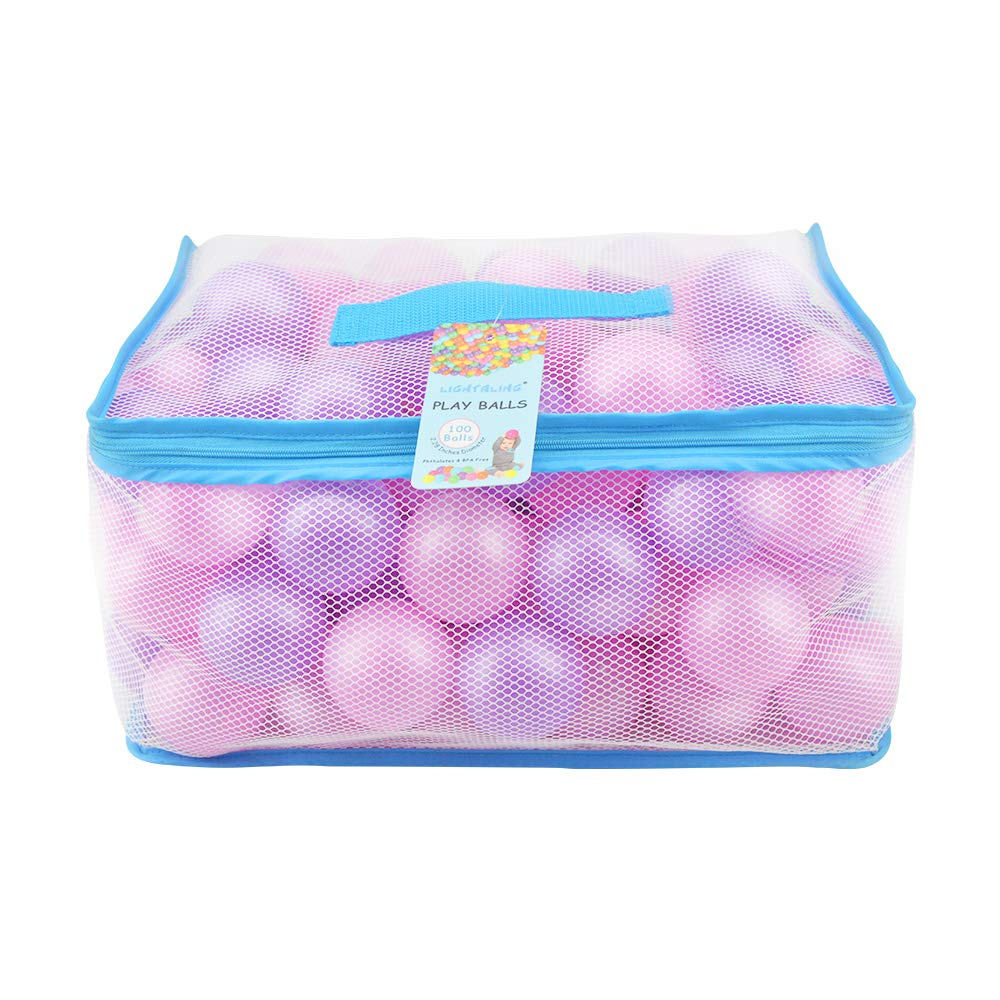 Lightaling 100pcs Pink & Purple Ocean Balls & Pit Balls Soft Plastic Phthalate & BPA Free Crush Proof - Reusable and Durable Storage Mesh Bag with Zipper