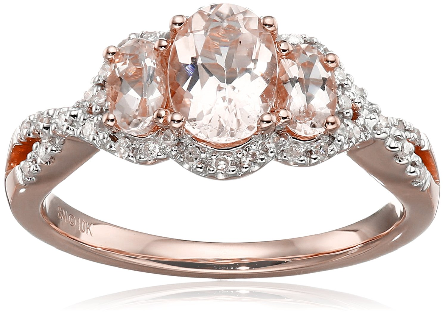 10k Pink Gold Morganite and Diamond 3-Stone Ring (1/10cttw, I-J Color, I2-I3 Clarity), Size 7 by Amazon Collection