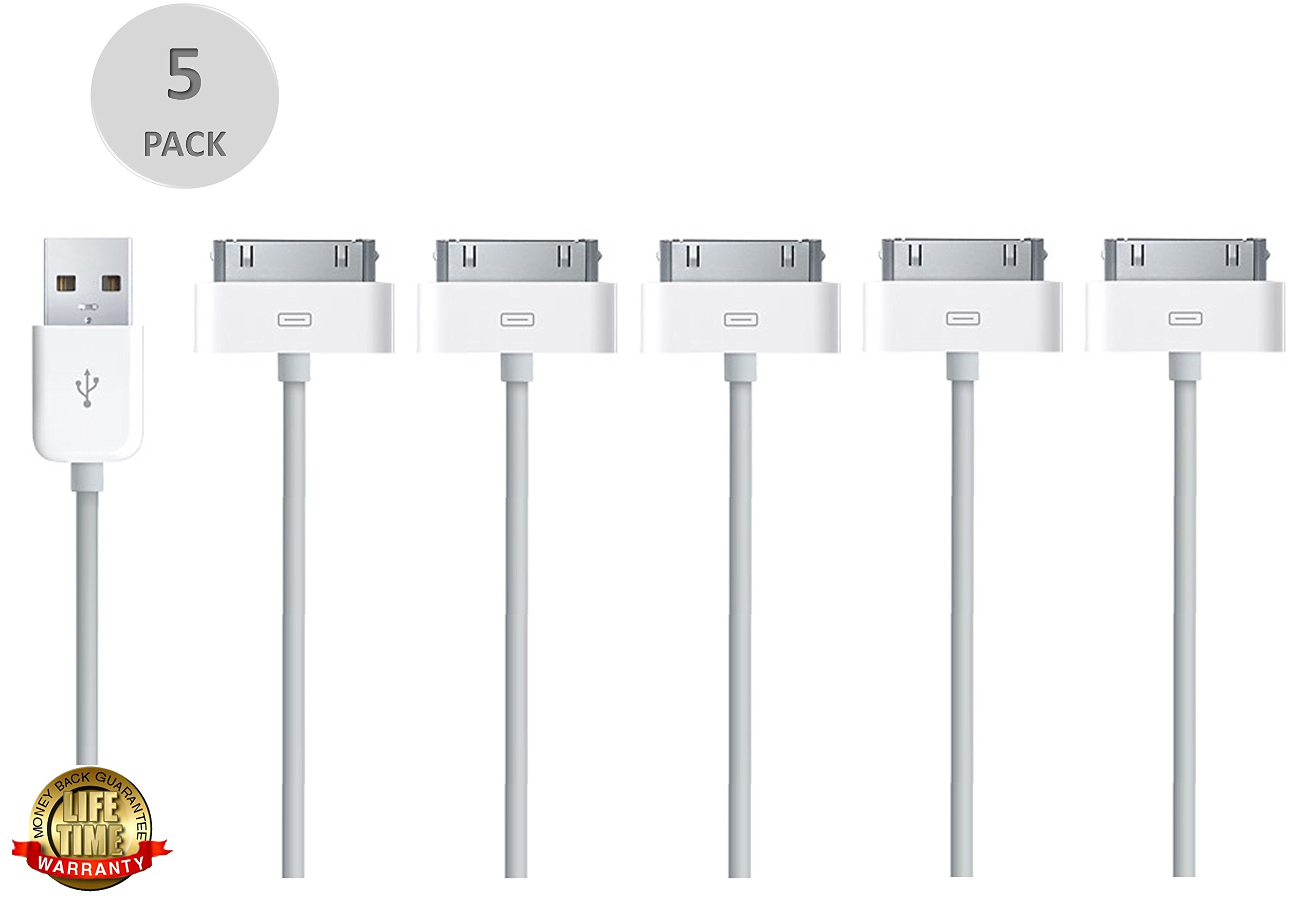 iPhone 4s 30-Pin Charging Cable, Liger [5-Pack] Premium 3.4ft 30 Pin To USB Cables High Speed USB 2.0 Sync and Charge Cables for for iPhone 3 to 4s iPad 1 2 iPod 1th to 4th Gen, iPod IOS 8 compatible by Liger (Image #1)