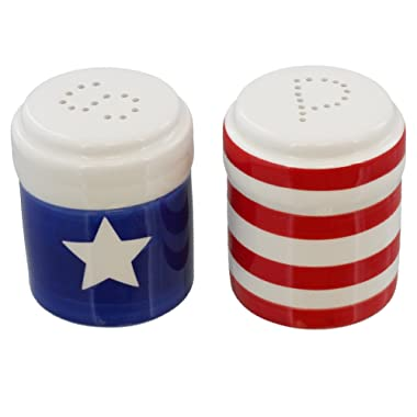 Patriotic USA Flag Salt and Pepper Shaker Set - Large Red White and Blue